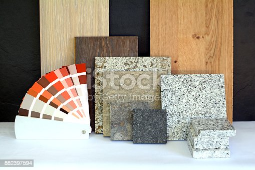 istock Material pattern parquet, natural stone, tiles, wooden planks, color card for apartment building, Renovation interior work 882397594