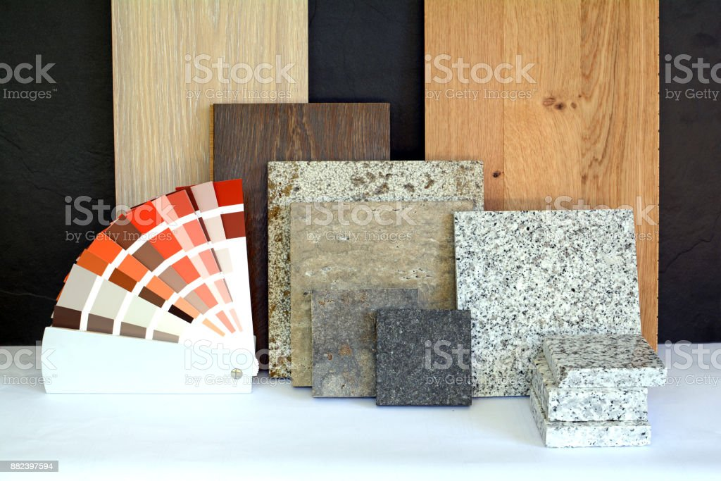 Material pattern parquet, natural stone, tiles, wooden planks, color card for apartment building, Renovation interior work stock photo