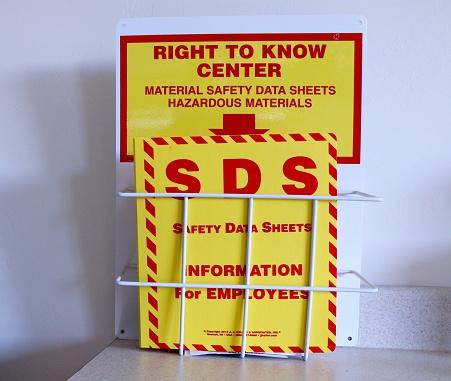 Material safety data sheet Information for hazardous materials.