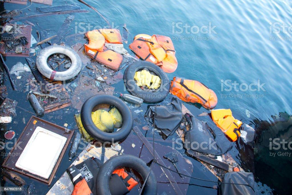 materials from refugees wash ashore at Lesvos stock photo