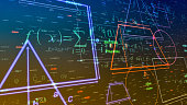geometric shapes and formulas, abstract background (3d render)