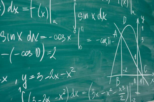 Math-Klasse. Algebra. Die Formeln sind auf das Schule-Brett geschrieben. – Foto