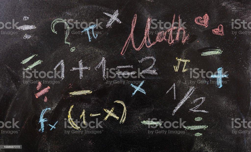 Mathematische Gleichungen und Symbole, isoliert, auf Tafel Hintergrund. – Foto