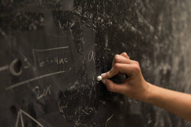 Math Formulas on Chalkboard stock photo