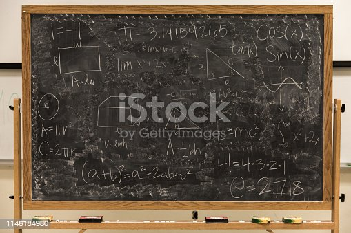 istock Math Formulas on Chalkboard 1146184980