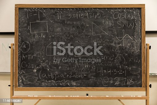 istock Math Formulas on Chalkboard 1146185087