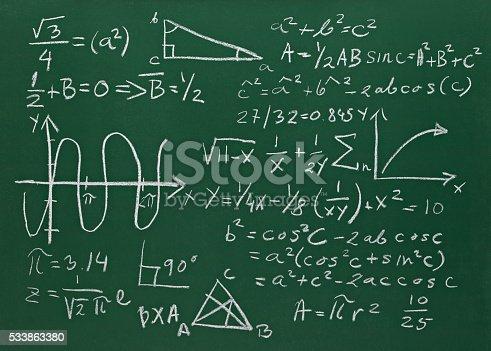istock math formulas on school blackboard education 533863380
