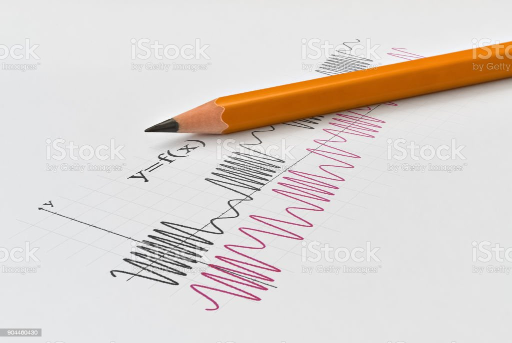 Math functions and pencil stock photo