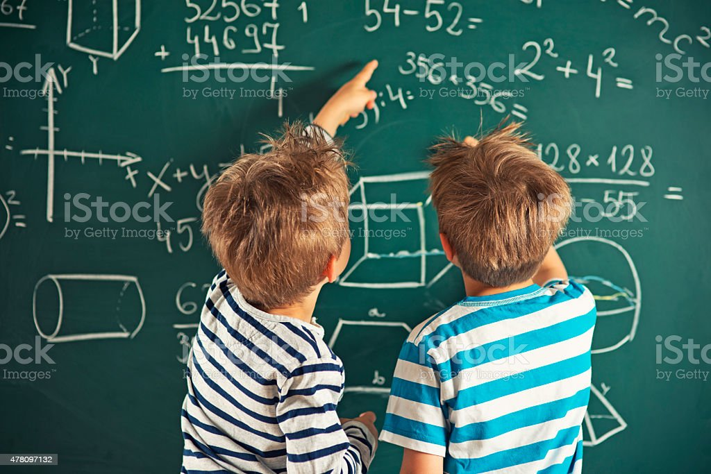 Math Is Fun Little Boys Solving Mathematical Problems Stock Photo ...