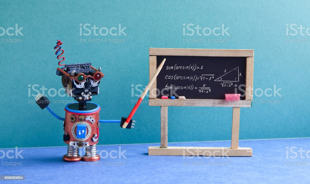 Math lesson in college. Robot teacher explains theory inverse trigonometric functions. Classroom interior with handwritten formula black chalkboard. Blue green colorful background stock photo