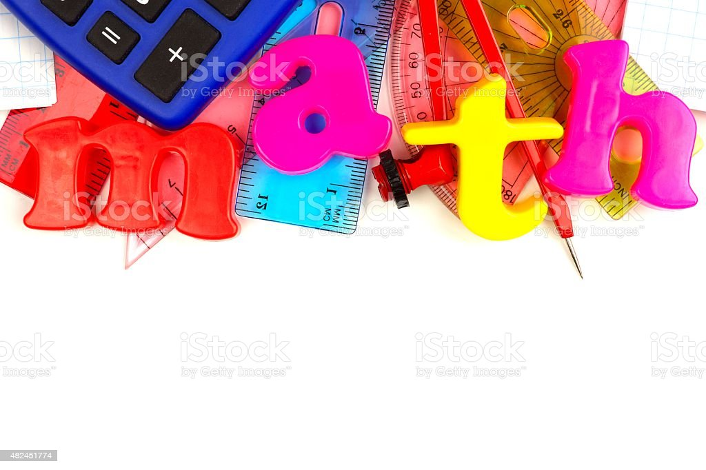 Math magnetic letters with school supplies stock photo