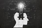 Math mathematics formulas exam science idea innovation head silhouette