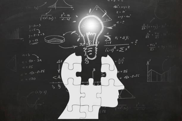 Mathematik Mathematik Formeln Prüfung Wissenschaft Idee Innovation Kopf silhouette – Foto