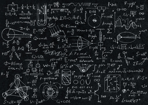 Math, physics formulas and symbol on black background.