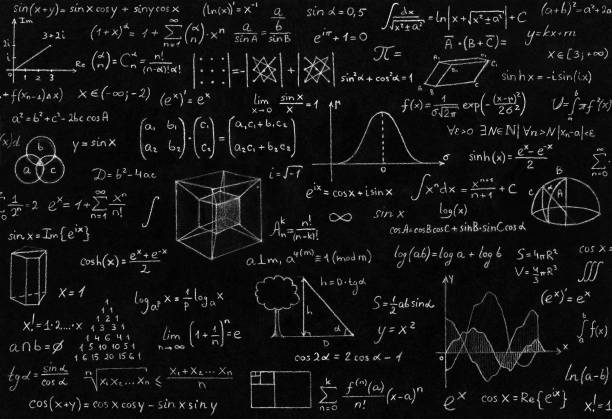 Math, physics formulas Math, physics formulas and symbol on black background. mathematical symbol stock pictures, royalty-free photos & images