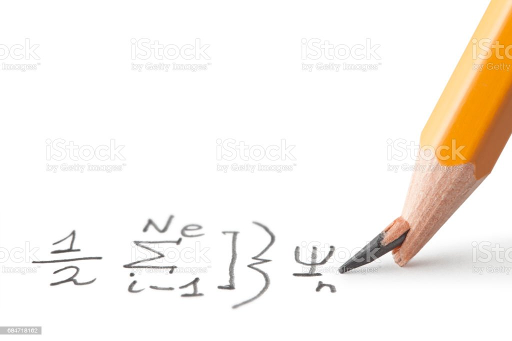 Math problem. Pencil with broken point. stock photo