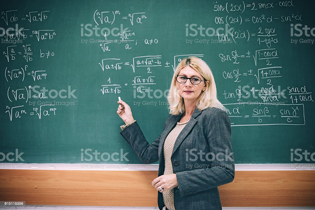 Portrait of mature academic person, female professor standing near...