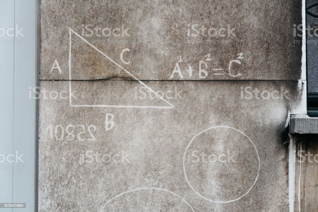Math signs on an city wall in Antwerp, Belgium stock photo