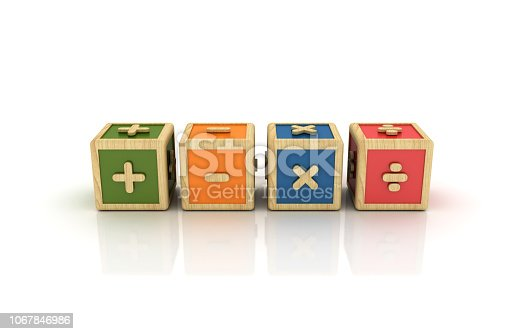 Math Symbols Buzzword Cubes - White Background - 3D Rendering