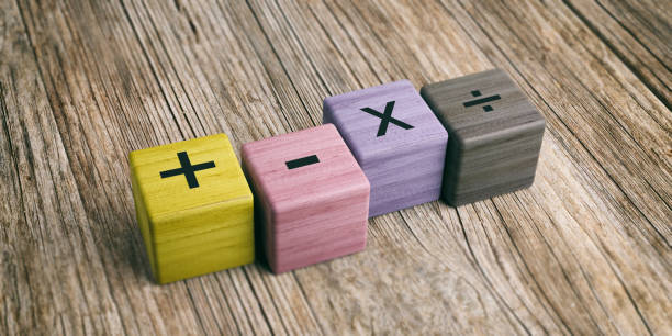 math symbols on wooden blocks. 3d illustration - mathematical symbol stock pictures, royalty-free photos & images