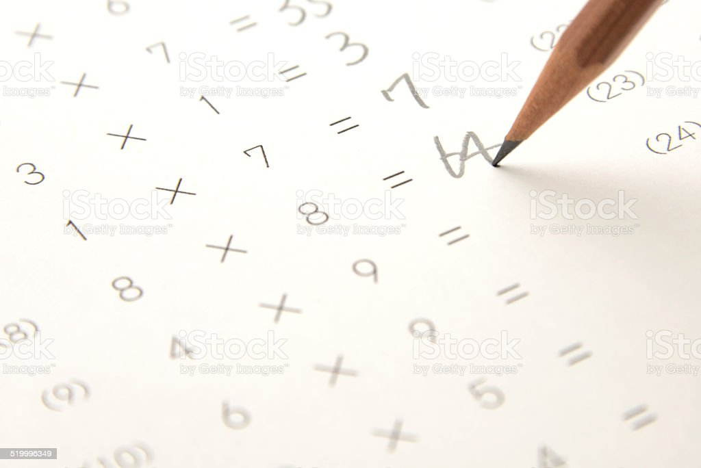 Math test for students stock photo