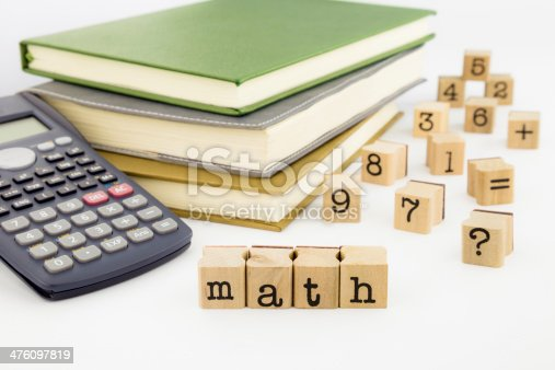 istock Math wording and books on white background 476097819
