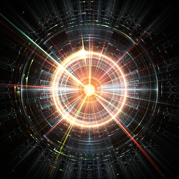 concept mathématique d'un ordinateur futuriste, concept d'intelligence artificielle avec des particules colorées - cercle concentrique photos et images de collection