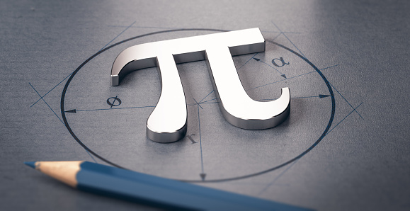 3D illustration of pi letter over a circle drawing. Mathematics concept