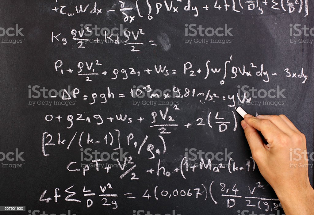 Mathematical equation on a chalkboard stock photo