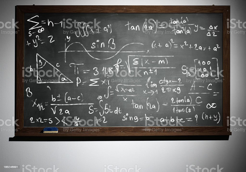 Mathematical equation written on blackboard with chalk royalty-free stock photo