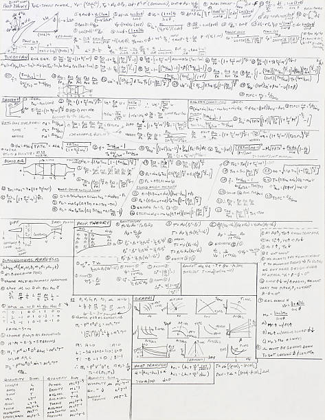 Mathematical Equations for Fluid Dynamics stock photo