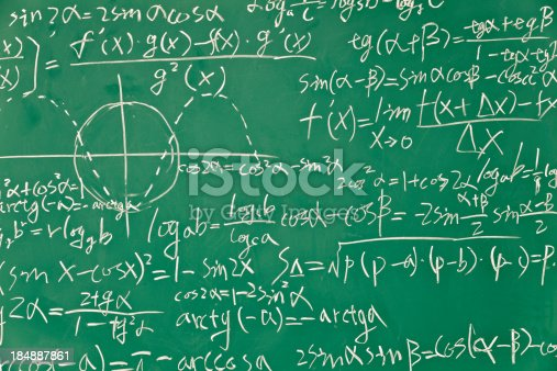 mathematical formula  on green blackboard