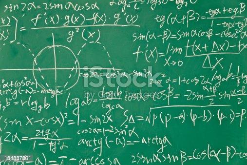 mathematical formula  on green blackboard