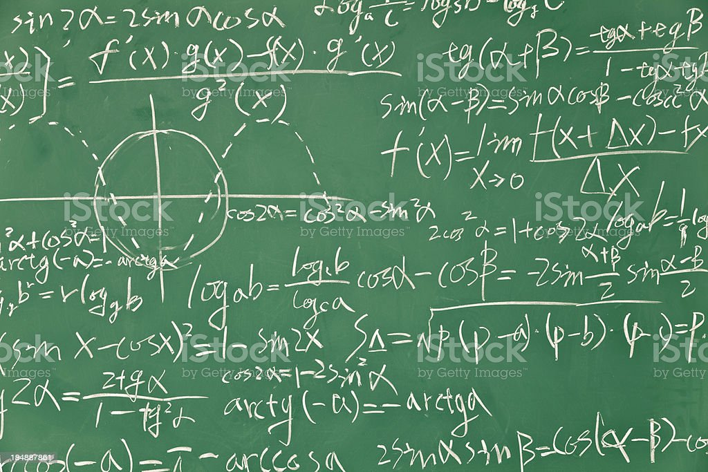 Mathematical formula on green blackboard stock photo