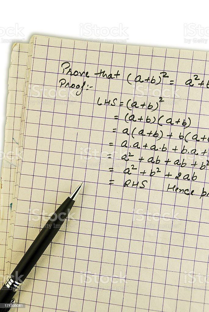 Mathematical proof of a differentiation equation royalty-free stock photo