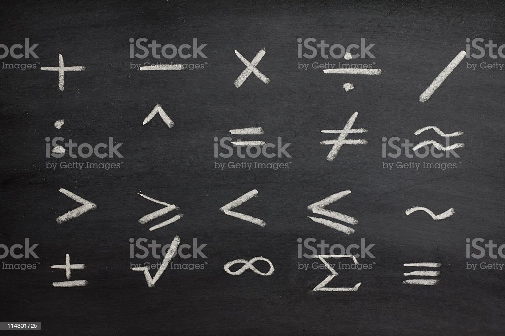Mathematical symbols on blackboard royalty-free stock photo