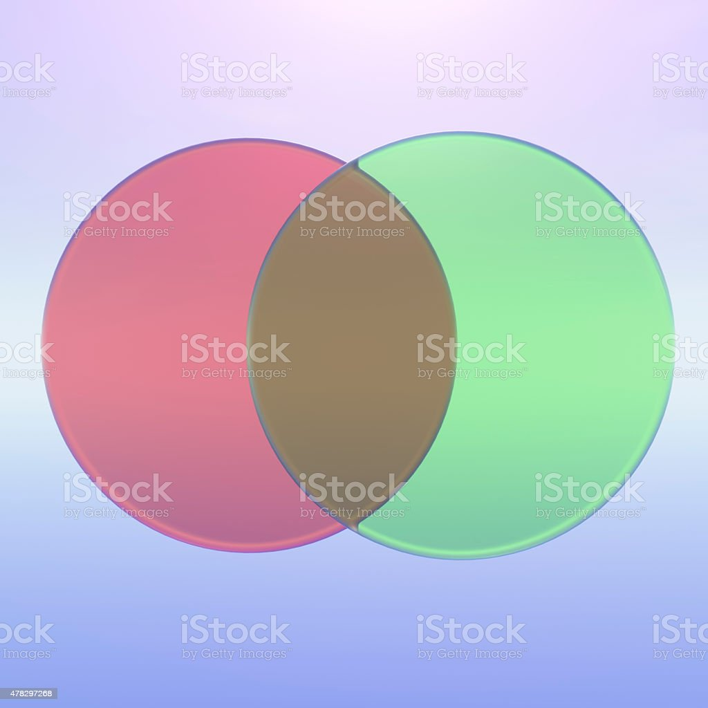 Two part venn diagram in 3D glass stock photo