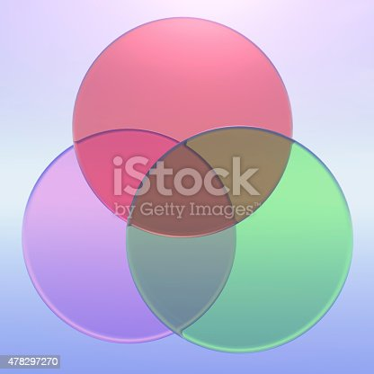 Three Part Venn Diagram In 3d Glass Stock Photo More Pictures Of