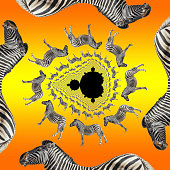 The complex Mandelbrot set lies at the heart of this fractal decomposition, which features a Burchell's zebra from Zimbabwe. Using decomposition tiling, a photo of a zebra is spun around a Mandelbrot fractal set of points. Each circle contains double the number of zebras of the one above it. Black and white stripes, orange to yellow gradient background.
