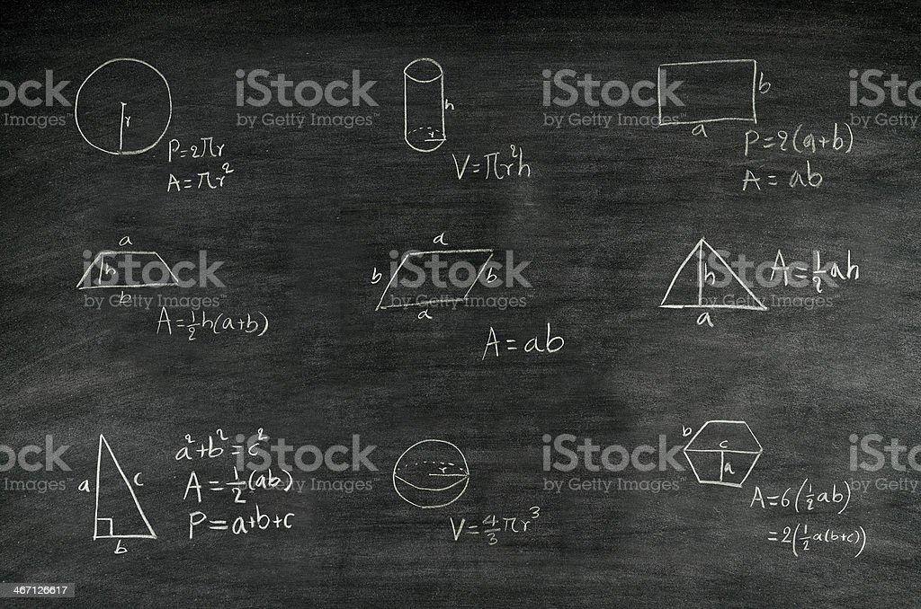 mathematics formula on blackboard stock photo