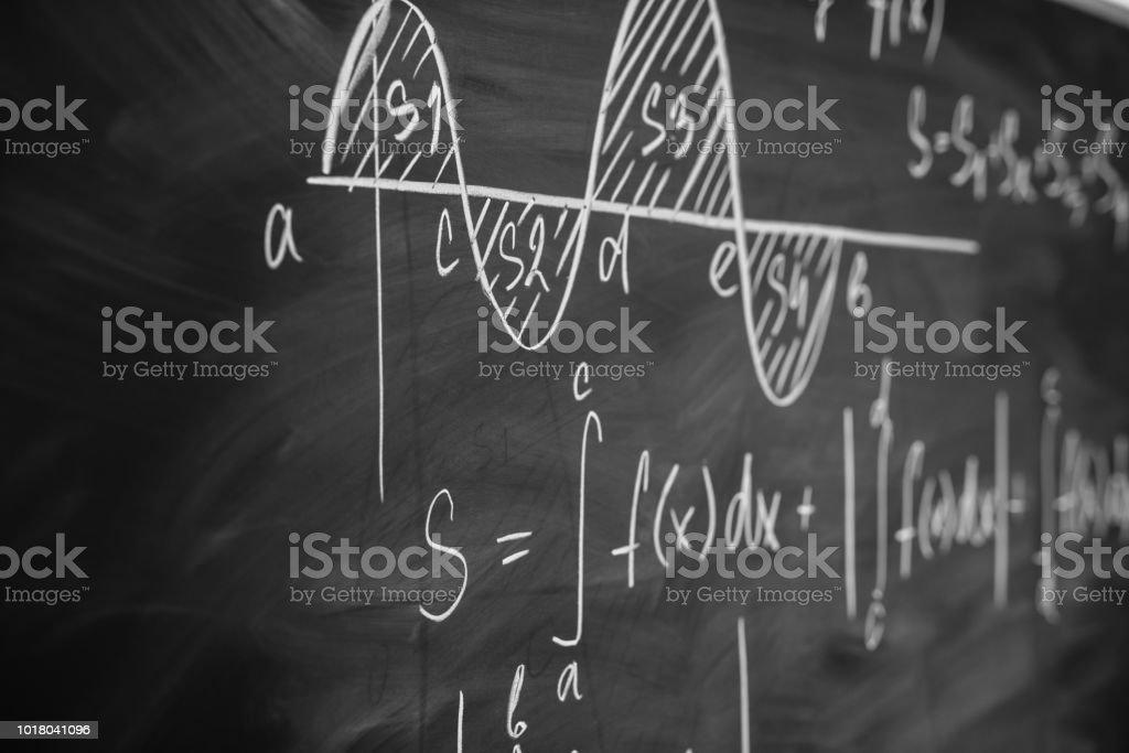 Mathematics function integra graph formulas on the chalkboard. Mathematics function integra graph formulas on the chalkboard Adversity Stock Photo