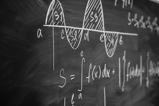 Mathematics Function Integra Graph Formulas On The Chalkboard Stock Photo - Download Image Now