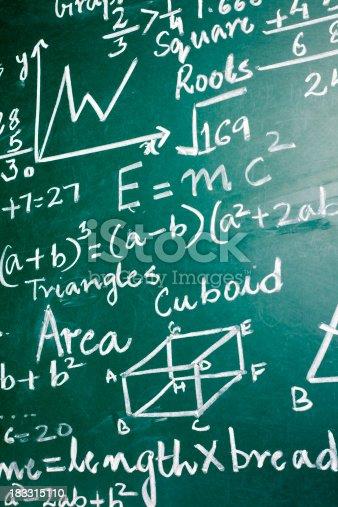 istock Mathematics Problems on a Greenboard 183315110