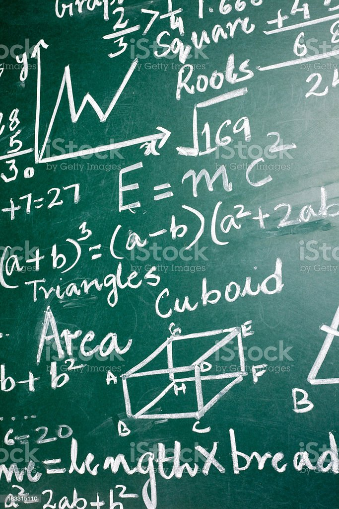 Mathematics Problems on a Greenboard stock photo