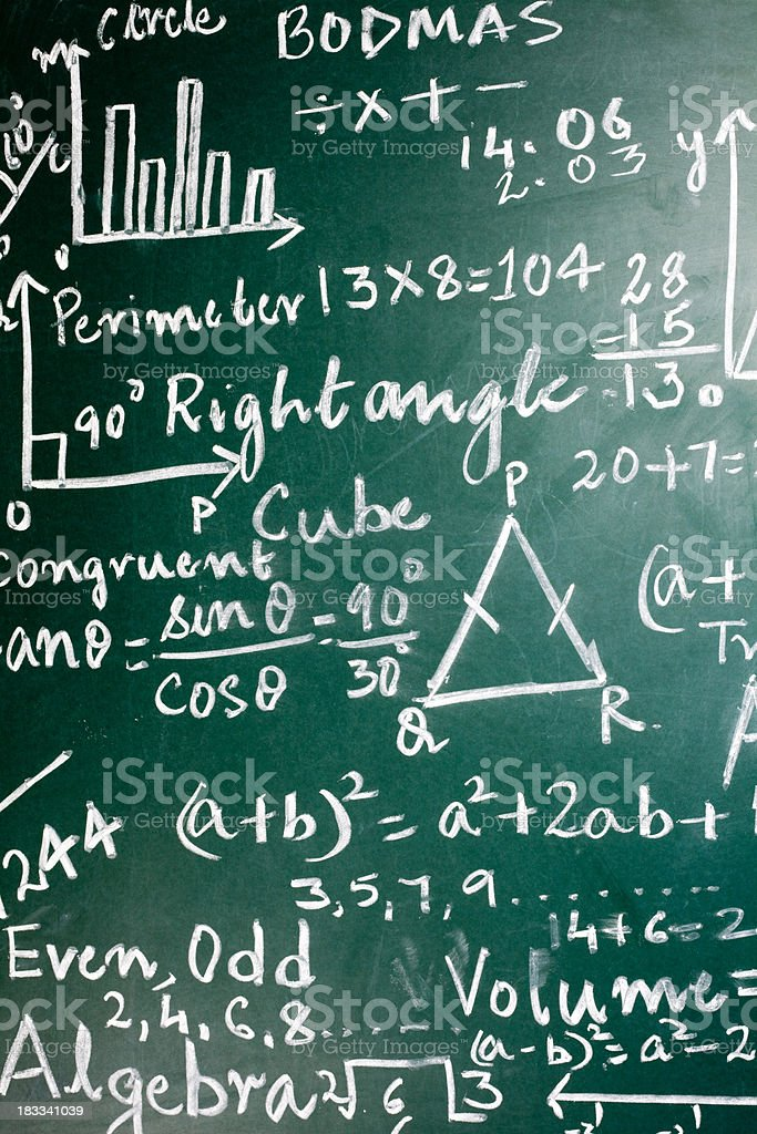 Mathematics Problems on a Greenboard royalty-free stock photo