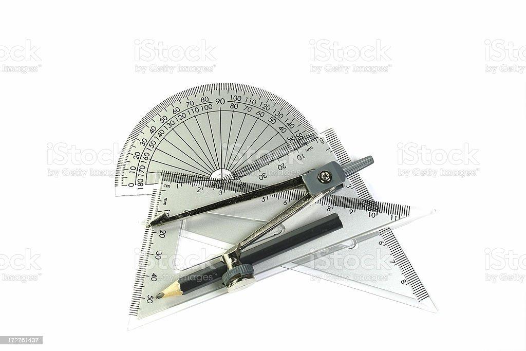 mathematics, triangle, compass & protractor royalty-free stock photo