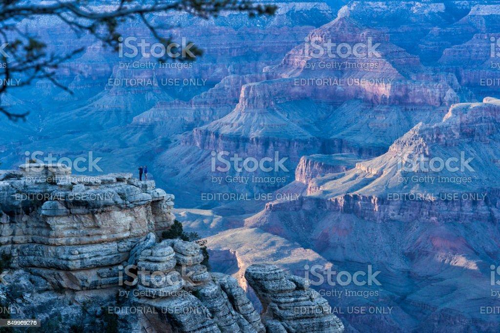 Mather Point sunset Grand Canyon stock photo