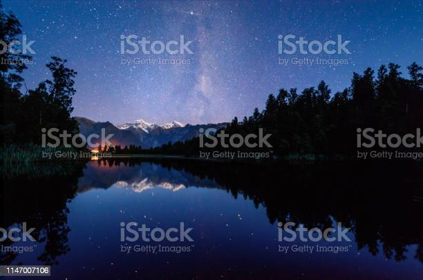 Photo of Matheson Lake with milky way