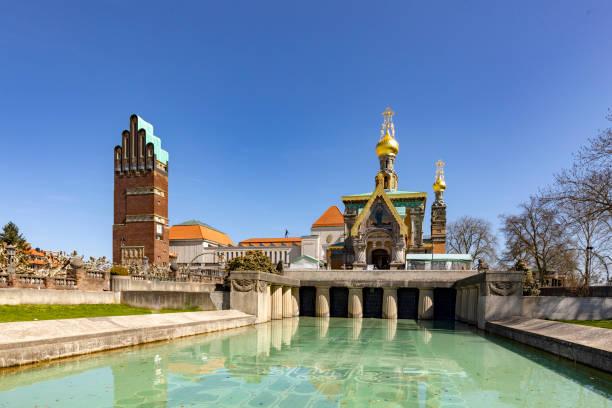 Mathildenhöhe mit russischer Kapelle und Hochzeitsturm in Darmstadt – Foto