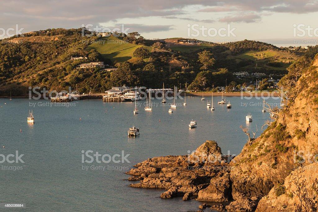 Matiatia Bay on Waiheke Island in New Zealand stock photo